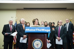 Alliance for a Just Society Lobbyist Bill Daley (far right) attended a Washington D.C. press conference in support of raising the minimum wage. Pictured in the front row are Democratic Whip Rep. Steny Hoyer, Congressman George Miller, Minority Leader Nancy Pelosi, and Secretary of Labor Tom Perez.